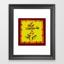 tree with a computer , telephone and other device Framed Art Print