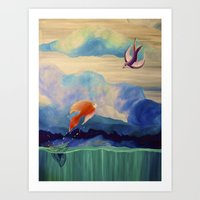 a fish may love a bird but where would they live..... Art Print