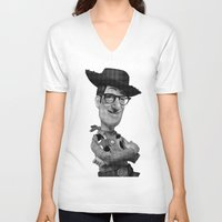 woody V-neck T-shirts featuring Woody by Eric Siv