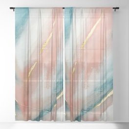 Celestial [3]: a minimal abstract mixed-media piece in Pink, Blue, and gold by Alyssa Hamilton Art Sheer Curtain