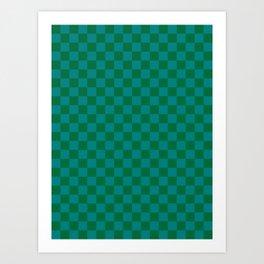 Teal Green and Cadmium Green Checkerboard Art Print