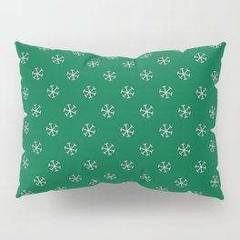 Cotton Candy Pink on Cadmium Green Snowflakes Pillow Sham