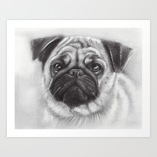 Cute Pug Dog Animal Pugs Portrait Art Print