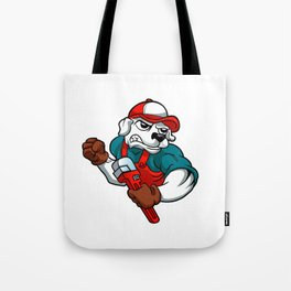 dog plumber holding a big wrench Tote Bag