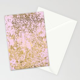 Pale Pink and Gold Patina Design Stationery Cards