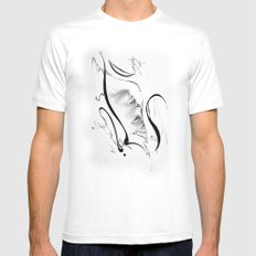 Line 3 MEDIUM White Mens Fitted Tee