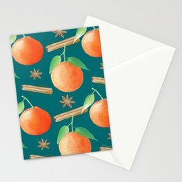 Tangerines,Cinnamon and Star Anise Watercolor Illustration and Pattern, Teal Background  Stationery Cards