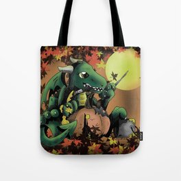 Fantasy Dragon Painting a Pumpkin Tote Bag