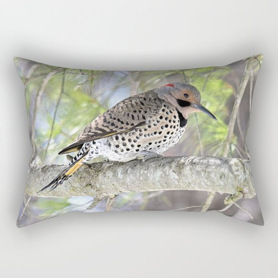 Northern Flicker Showing His Colors Rectangular Pillow