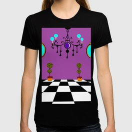 An Elegant Hall of Mirrors with Chandler and Topiary in Purples T-shirt