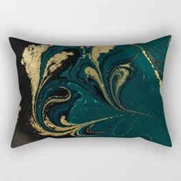 Marble Glitter Gold Fluid Painting Pouring Jupiter Surface Glamorous Shiny Metallic Accents Rectangular Pillow