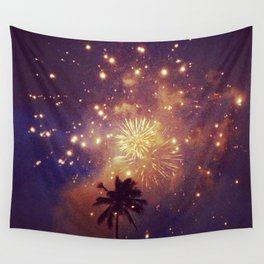 Palm tree fireworks Wall Tapestry