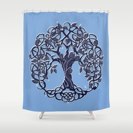 Tree of Life Blue Shower Curtain