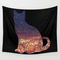 space cat Wall Tapestries featuring Space Cat by dan elijah g. fajardo