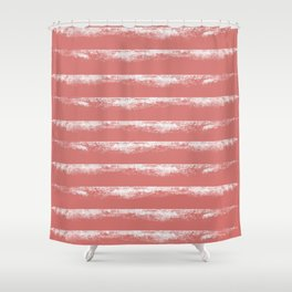 Irregular Stripes Coral Shower Curtain