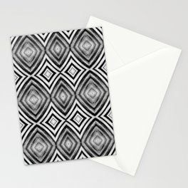 Black White Diamond Pattern Stationery Cards