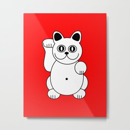 Good Luck White Cat On Red Background Metal Print