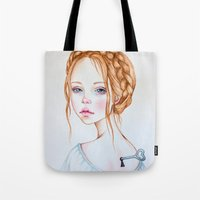 doll Tote Bags featuring Doll by Black Fury