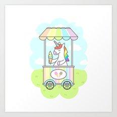 Unicorn Ice Cream Art Print