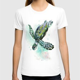Sea Turtle, underwater scene,  green turquoise beach house design T-shirt