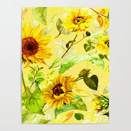 Watercolor Sunflower 4 Poster