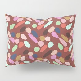 Dancing Shapes Pattern Multicolored Red Pillow Sham