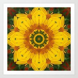 Prairie Coreopsis Mandala Art Print