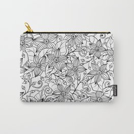 Modern black white hand drawn floral Carry-All Pouch