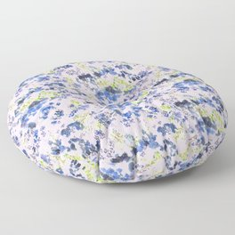 Doodle blue flowers pattern, Light Pink background Floor Pillow