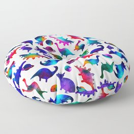 Rainbow Galaxy Watercolor Dinosaurs In Space Floor Pillow