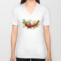 vietnam V-neck T-shirts featuring Vietnam Chilli by Vietnam T-shirt Project