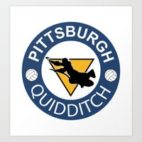 quidditch Art Prints featuring Pittsburgh Quidditch by thomassoltis
