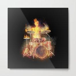 Flaming Skeleton Drummer Set 2BL Metal Print