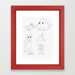 cat rock cat house Framed Art Print