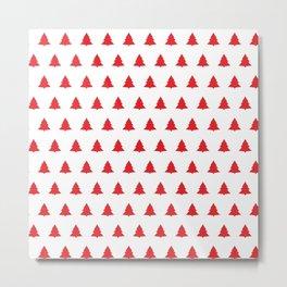 Red Christmas Tree Seamless Pattern Metal Print