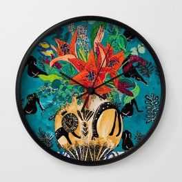 Amphitrite: Orange Lily and Wildflower Bouquet in Lion and Giraffe Urn on Emerald Matisse Inspired Wallpaper Wall Clock