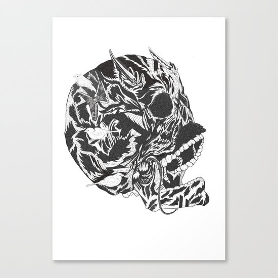 Skull Moustache Canvas Print