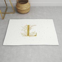 Letter L Gold Monogram / Initial Botanical Illustration Rug