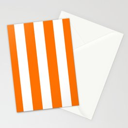 Bright Tumeric Orange and White Wide Vertical Cabana Tent Stripe Stationery Cards