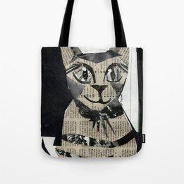 Newspaper Cat Tote Bag
