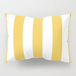 Maize (Crayola) orange - solid color - white vertical lines pattern Pillow Sham