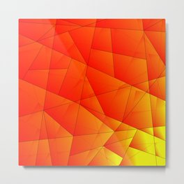 Bright yellow pattern of red triangles and irregularly shaped lines. Metal Print