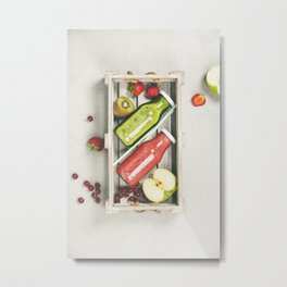 Green and red fresh juices or smoothies Metal Print