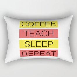 Coffee Teach Sleep Repeat | Teacher Gift Idea Rectangular Pillow