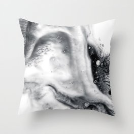Ink in Milk Black and White liquid Nr.01 Throw Pillow