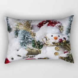 snowman christmas 2018 winter snow New Year Christmas decorations Rectangular Pillow