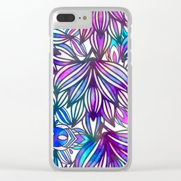 Hand painted neon pink teal blue watercolor floral Clear iPhone Case
