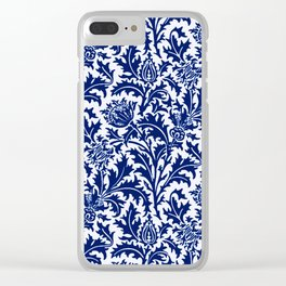 William Morris Thistle Damask, Cobalt Blue & White Clear iPhone Case