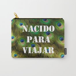 Numerous multicolored feathers of the peacock bird. Born to travel. Carry-All Pouch