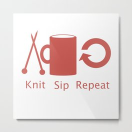 Knitting and Coffee Metal Print